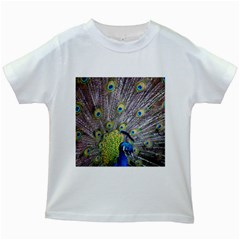 Peacock Bird Feathers Kids White T-Shirts
