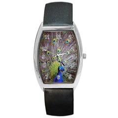 Peacock Bird Feathers Barrel Style Metal Watch