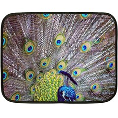 Peacock Bird Feathers Fleece Blanket (mini)