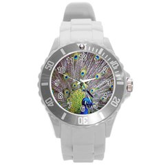 Peacock Bird Feathers Round Plastic Sport Watch (L)