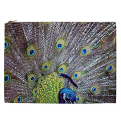 Peacock Bird Feathers Cosmetic Bag (XXL)