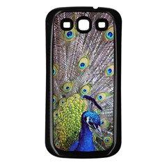 Peacock Bird Feathers Samsung Galaxy S3 Back Case (Black)