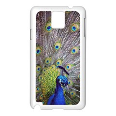 Peacock Bird Feathers Samsung Galaxy Note 3 N9005 Case (White)