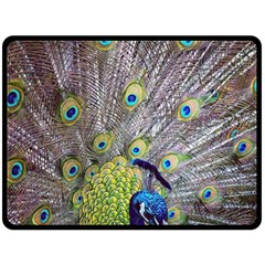 Peacock Bird Feathers Double Sided Fleece Blanket (Large)