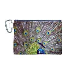 Peacock Bird Feathers Canvas Cosmetic Bag (M)