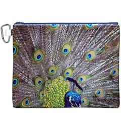 Peacock Bird Feathers Canvas Cosmetic Bag (XXXL)