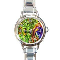 Peacock Feathers Round Italian Charm Watch