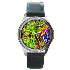 Peacock Feathers Round Metal Watch