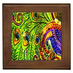 Peacock Feathers Framed Tiles