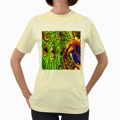 Peacock Feathers Women s Yellow T Shirt