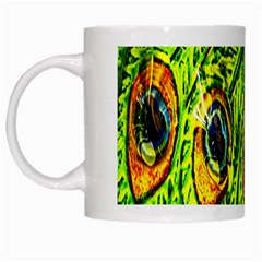 Peacock Feathers White Mugs