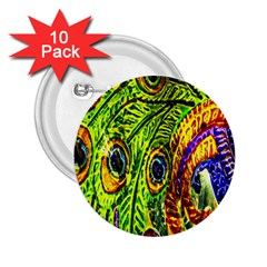 Peacock Feathers 2 25  Buttons (10 Pack)