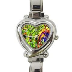 Peacock Feathers Heart Italian Charm Watch