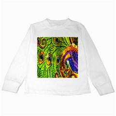 Peacock Feathers Kids Long Sleeve T-Shirts