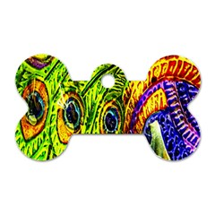 Peacock Feathers Dog Tag Bone (Two Sides)