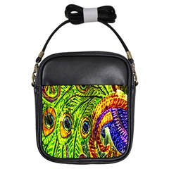 Peacock Feathers Girls Sling Bags