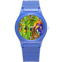 Peacock Feathers Round Plastic Sport Watch (S)