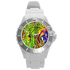 Peacock Feathers Round Plastic Sport Watch (L)
