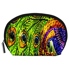 Peacock Feathers Accessory Pouches (Large)