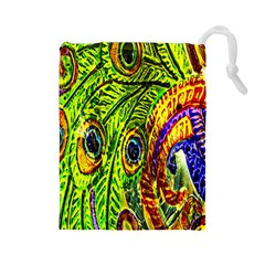 Peacock Feathers Drawstring Pouches (Large)