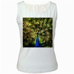 Peacock Bird Women s White Tank Top