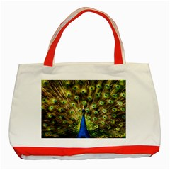 Peacock Bird Classic Tote Bag (red)
