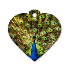 Peacock Bird Dog Tag Heart (two Sides)