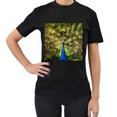 Peacock Bird Women s T Shirt (black)