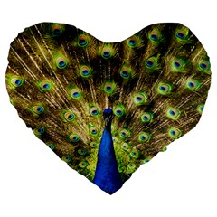 Peacock Bird Large 19  Premium Heart Shape Cushions
