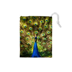 Peacock Bird Drawstring Pouches (Small)