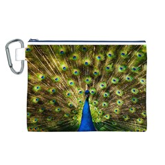 Peacock Bird Canvas Cosmetic Bag (L)