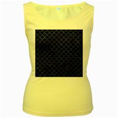 SCA1 BK-MRBL BL-STONE Women s Yellow Tank Top