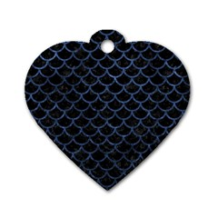 SCA1 BK-MRBL BL-STONE Dog Tag Heart (Two Sides)