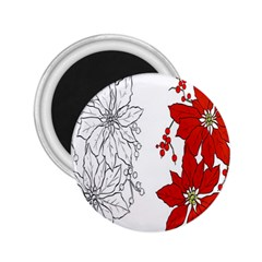 Poinsettia Flower Coloring Page 2.25  Magnets