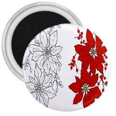 Poinsettia Flower Coloring Page 3  Magnets