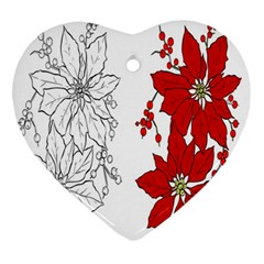 Poinsettia Flower Coloring Page Ornament (Heart)