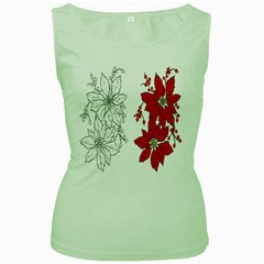 Poinsettia Flower Coloring Page Women s Green Tank Top