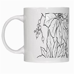 Poinsettia Flower Coloring Page White Mugs