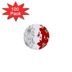 Poinsettia Flower Coloring Page 1  Mini Buttons (100 pack)