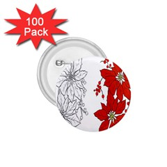 Poinsettia Flower Coloring Page 1.75  Buttons (100 pack)