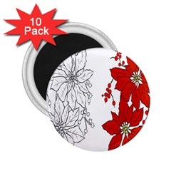 Poinsettia Flower Coloring Page 2.25  Magnets (10 pack)