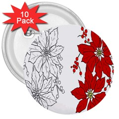 Poinsettia Flower Coloring Page 3  Buttons (10 pack)