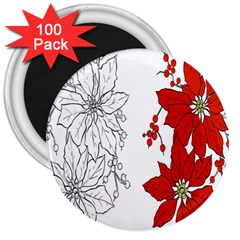 Poinsettia Flower Coloring Page 3  Magnets (100 Pack)