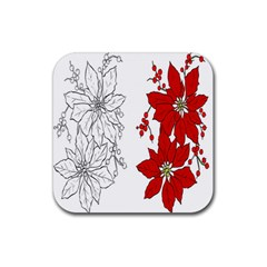 Poinsettia Flower Coloring Page Rubber Coaster (square)