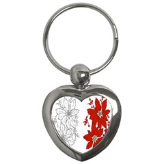 Poinsettia Flower Coloring Page Key Chains (Heart)