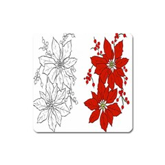 Poinsettia Flower Coloring Page Square Magnet