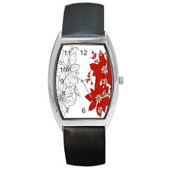 Poinsettia Flower Coloring Page Barrel Style Metal Watch
