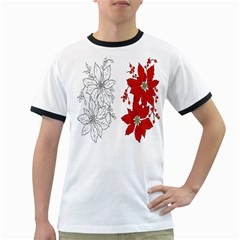 Poinsettia Flower Coloring Page Ringer T Shirts
