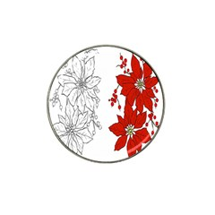Poinsettia Flower Coloring Page Hat Clip Ball Marker (4 Pack)