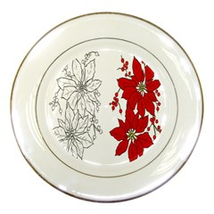 Poinsettia Flower Coloring Page Porcelain Plates